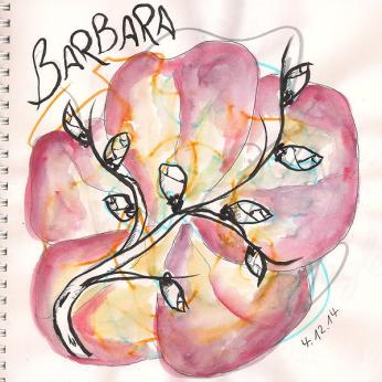 Inspired by the meaning of the day related to St. Barbara: imaginary bench based on randomly scribbled lines ... sort of ruined through the bloom-painting ... still unfinished