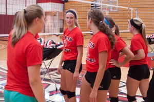 The IUSB volleyball players at practice Preface photo/NATALIE MILLS