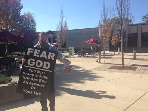 Brad, one of several religious protesters on campus Monday. (Photo by Taylor Neff)