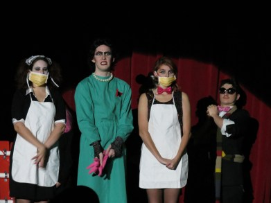 Magenta, Gracie Lange, Dr. Frank Furter, John Magness, and Columbia, Sarah Knowlton, on stage along with a Transylvanian extra Preface photo/IZZA JATALA