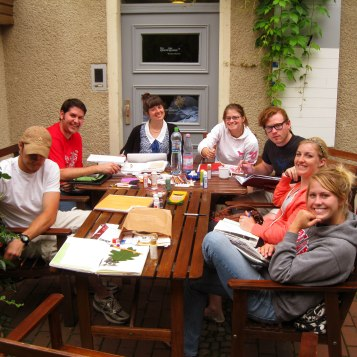 Group shot while collaging in Berlin.Photo courtesy Joe Kuharic