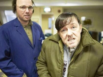 Karl Pilkington (left) stars alongside Ricky Gervais (right) who portrays Derek, a quirky and lovable caretaker at an English nursing home. Photo via/Netflix