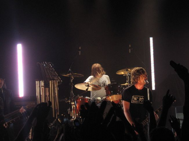 """From left to right: Drummer Chad Butler and vocalist Jon Foreman of San Diego rock band Switchfoot. The band is currently on tour in support of their new album """"Fading West."""" Photo/Wikimedia Commons"""
