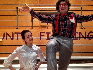 Sam Shepard(left) and Brad Pontius(right) in costume and character on the set of The 25th Annual Putnam County Spelling Bee.Photo credit/Amanda Barnett