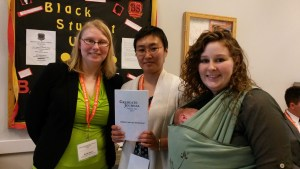 All the editors together Brandi David, Dr. Kyoko Takanashi, and Stephanie Foreman with her new baby boy.