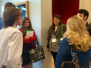 Six presenters gather together at the Undergraduate Research Conference Friday, April 17, 2015. (Photo/Bri Schmitt).