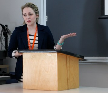 Presenter, Gabrielle Riland, discusses how individual personalities have a large bearing over the choices we have during her research presentation Friday, April 17, 2015. (Photo/ Sarah Cawthon).