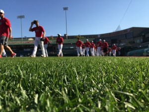 The IUSB Baseball Team prepares to take the field. Photo credit/BENJAMIN MILLER