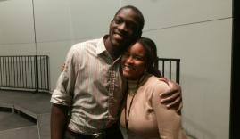 IUSB students Pierre Cooks (left) and Kara Stokes (right) pose for a picture during Gospel Choir rehearsal.