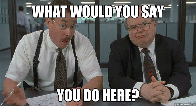 """The two Bobs from the movie """"Office Space,"""" saying """"What would you say you do here?"""""""