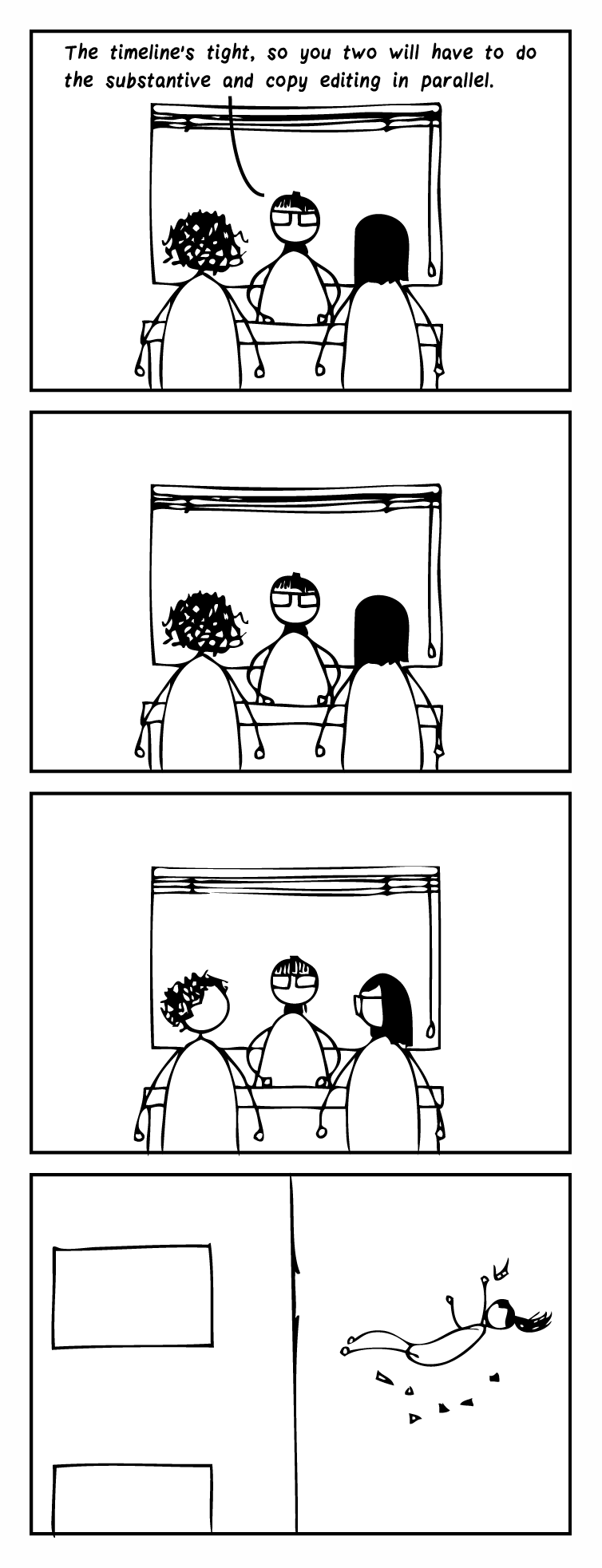 """Four-frame cartoon. Frame 1: A managing editor sits at a desk and talks to two editors. She says, """"The timeline's tight, so you two will have to do the substantive and copy editing in parallel."""" Frame 2: The editors stare back at her. Frame 3: The editors look at one another. Frame 4: You see the managing editor falling, having been thrown out the window."""