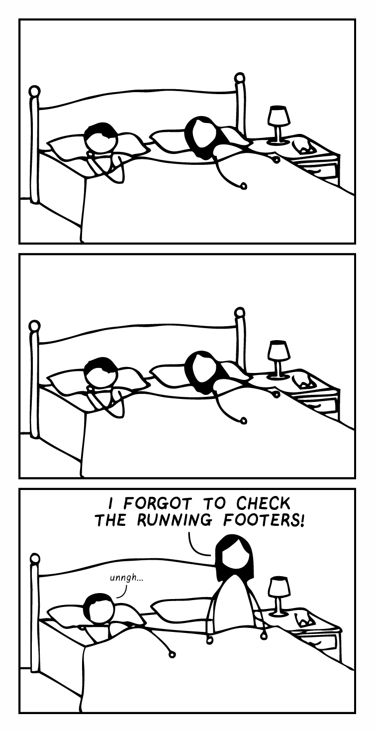 """Editor and partner are asleep in bed for the first two frames of a cartoon. In the third frame, the editor jolts awake and yells, """"i FORGOT TO CHECK THE RUNNING FOOTER!"""" Partner mutters """"unnngh…"""""""