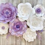 purple and white paper flowers