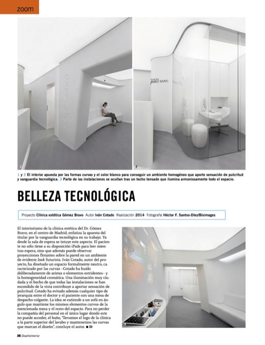 Revista Diseño Interior. Publicación proyecto de Iván Cotado: diseño interior de la Clínica Gómez Bravo (Madrid)