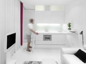 Detalle movilidad mesado cocina. Diseño interior de mini-apartamento en Madrid