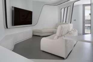 Salón y TV-Diseño interior vivienda futurista en Elche