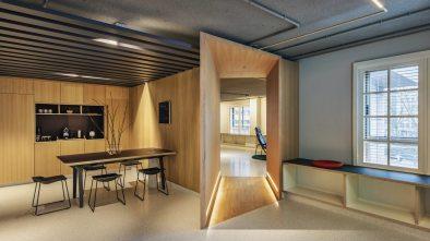 Vista entre espacios en Diseño de oficinas Sutega LAB