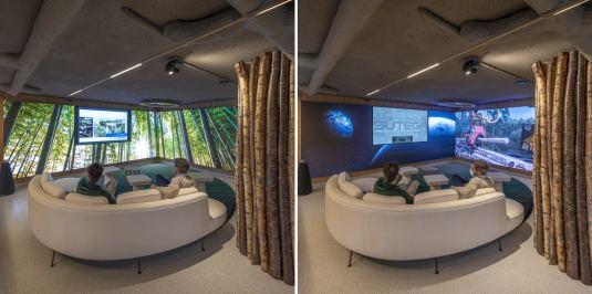 Zona de experiencias audiovisuales en Diseño de oficinas Sutega LAB
