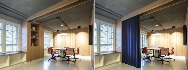 Detalle cortina escondida en sala de reuniones en Diseño de oficinas Sutega LAB