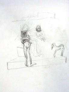 Esquisse scène avec chien Ivan de Monbrison