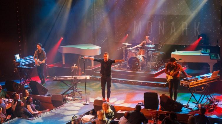 Performing during their 2016 Winter Tour at the Barnyard Theatre, Willowbridge.