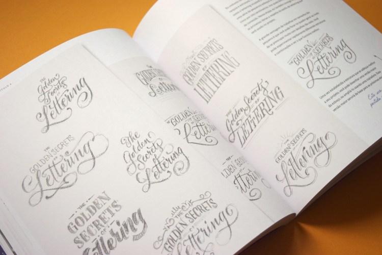 """Páginas mostrando versões de composição para o mesmo texto """"The golden secrets of lettering"""""""