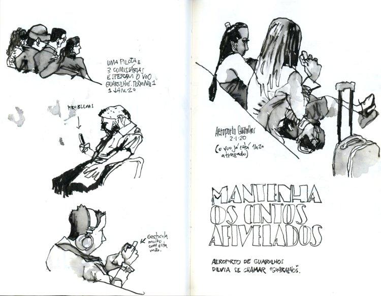 Página dupla de caderno com desenhos de passageiros no celular, conversando e com fone de ouvido