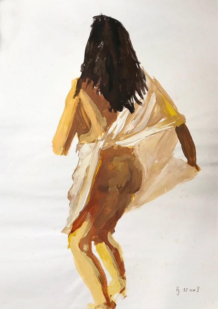 Pintura em acrílico de uma mulher de costas, envolvida em um pano branco