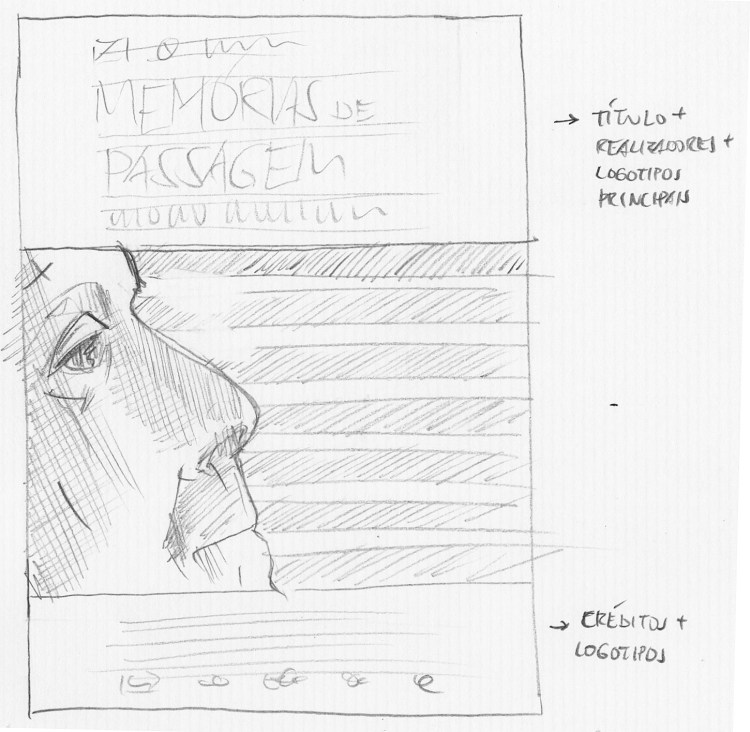 Desenho a lápis do rosto do personagem em perfil, em frente a uma veneziana