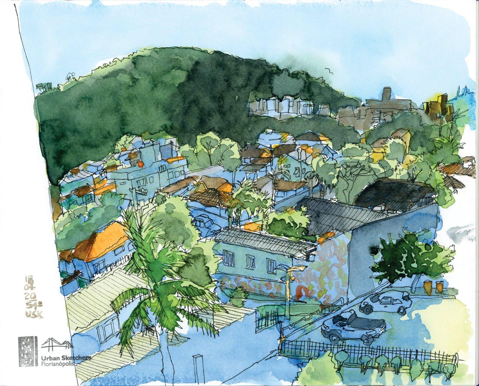 Desenho em caneta e aquarela mostrando o bairro Jardim Guarani e o morro com árvores ao fundo