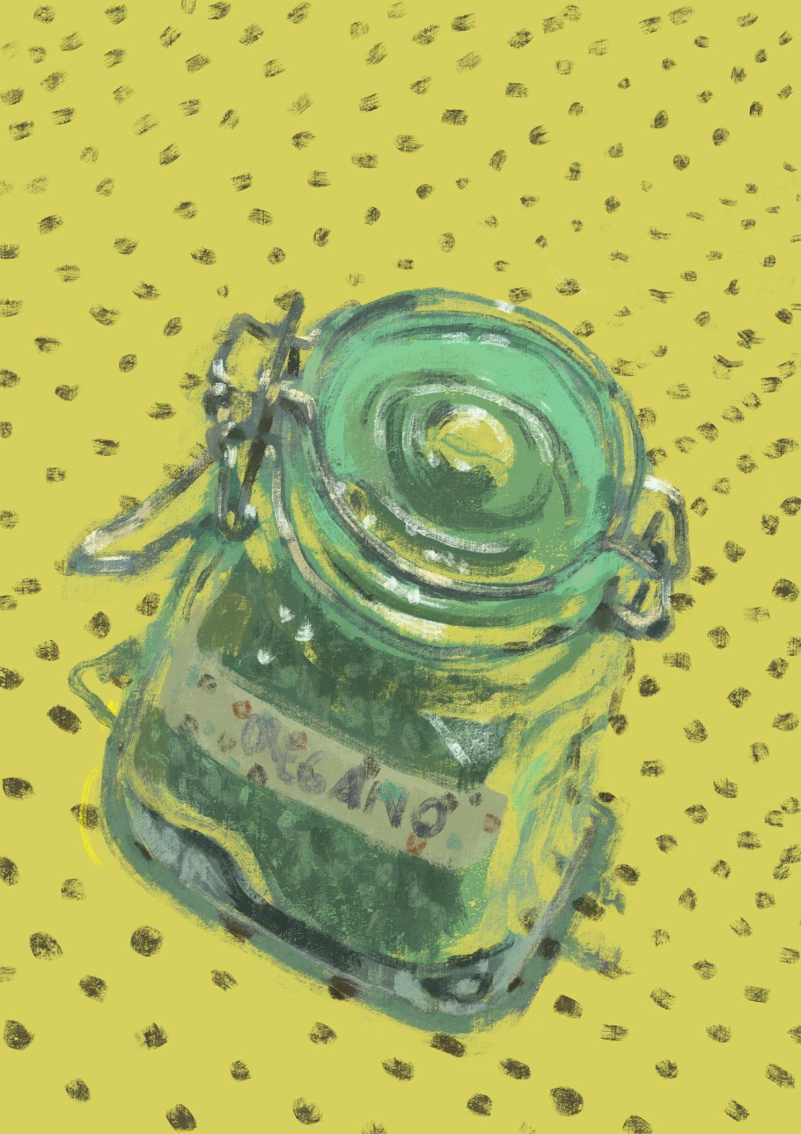 """Pintura digital de um pote de vidro pequeno com orégano dentro e uma fita colada escrito """"orégano"""" à mão."""
