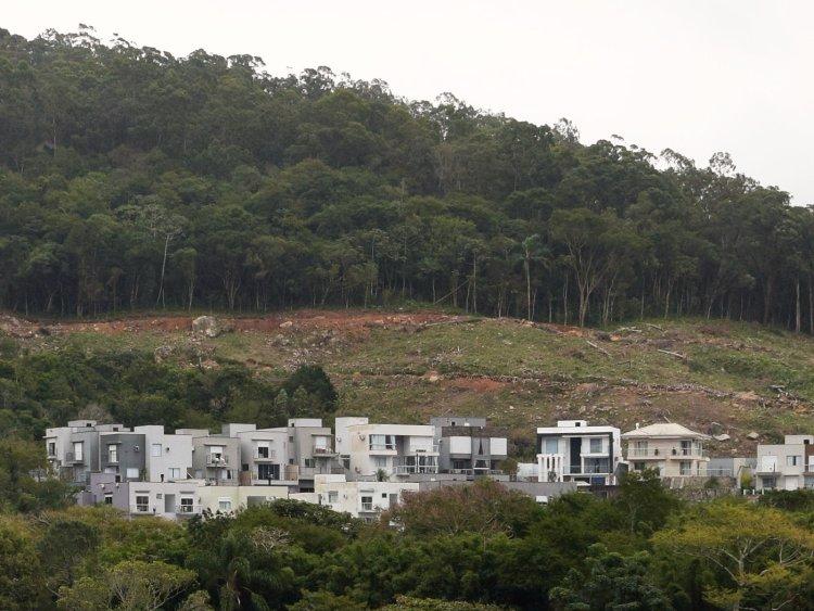 Parte do terreno com vegetação desmatada, com pedras no terreno íngreme