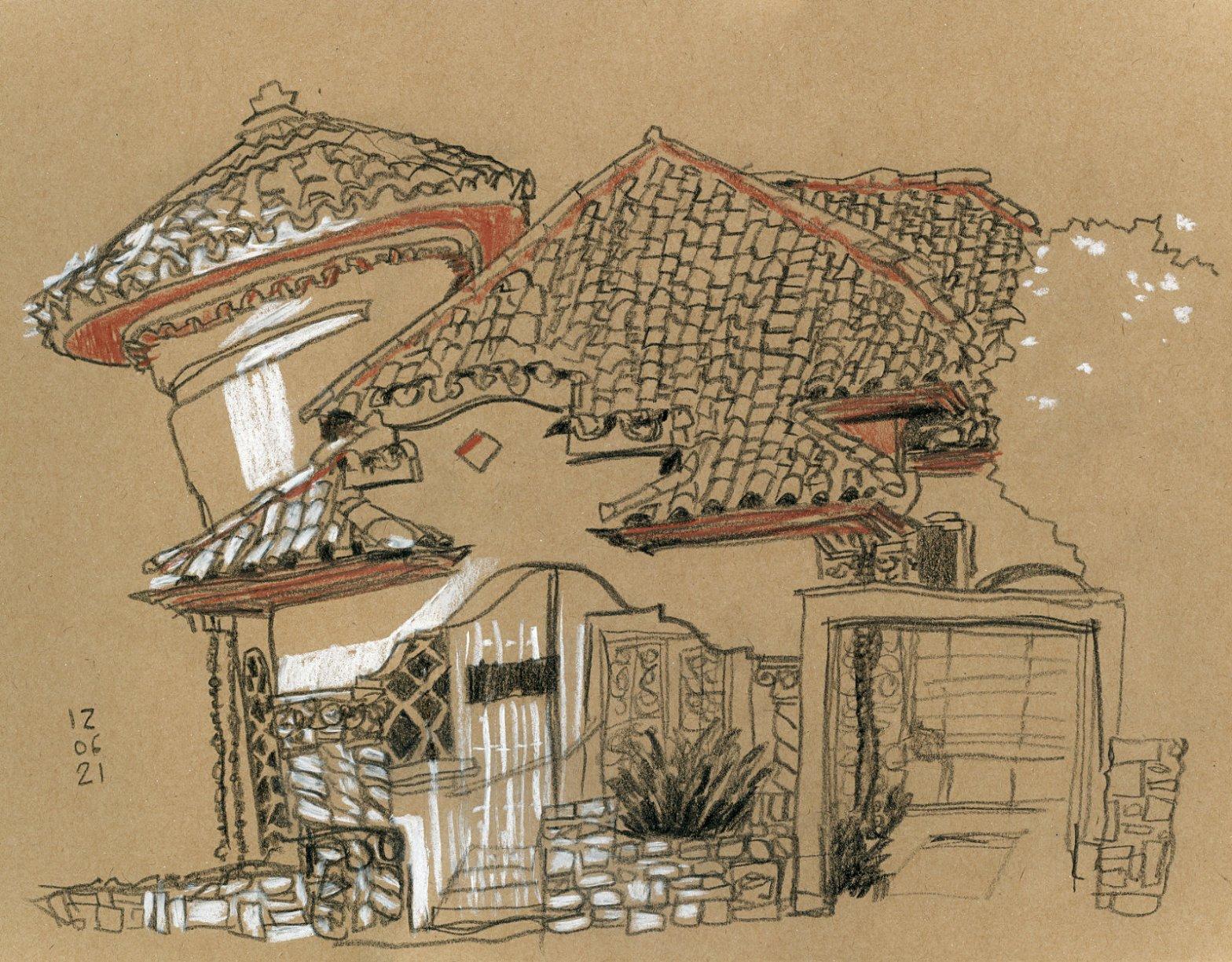Desenho em crayon sobre papel kraft de um casarão, visto de frente, com toques de branco e vermelho