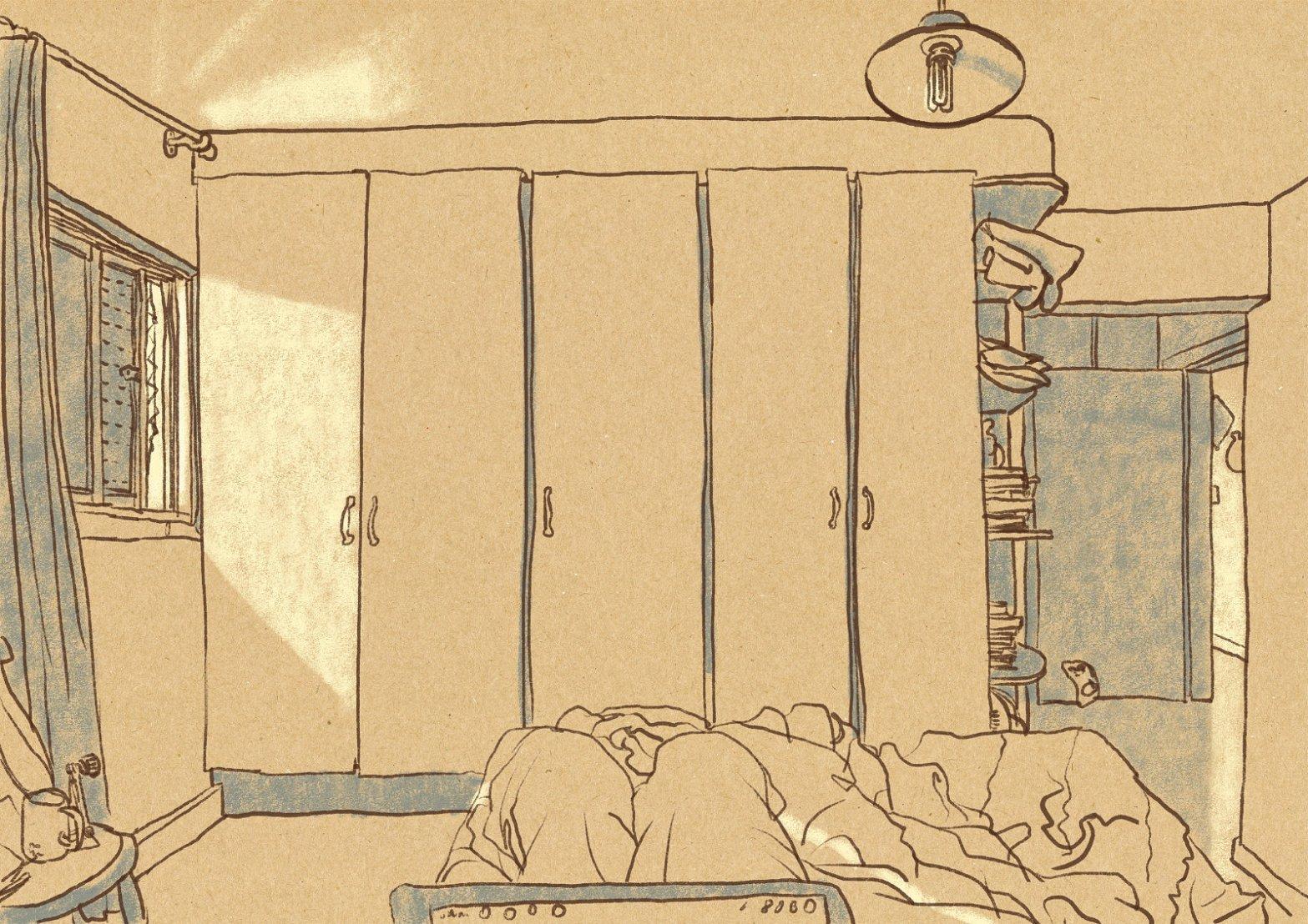 Desenho a traço em primeira pessoa do interior do quarto, sobre fundo imitando papel kraft