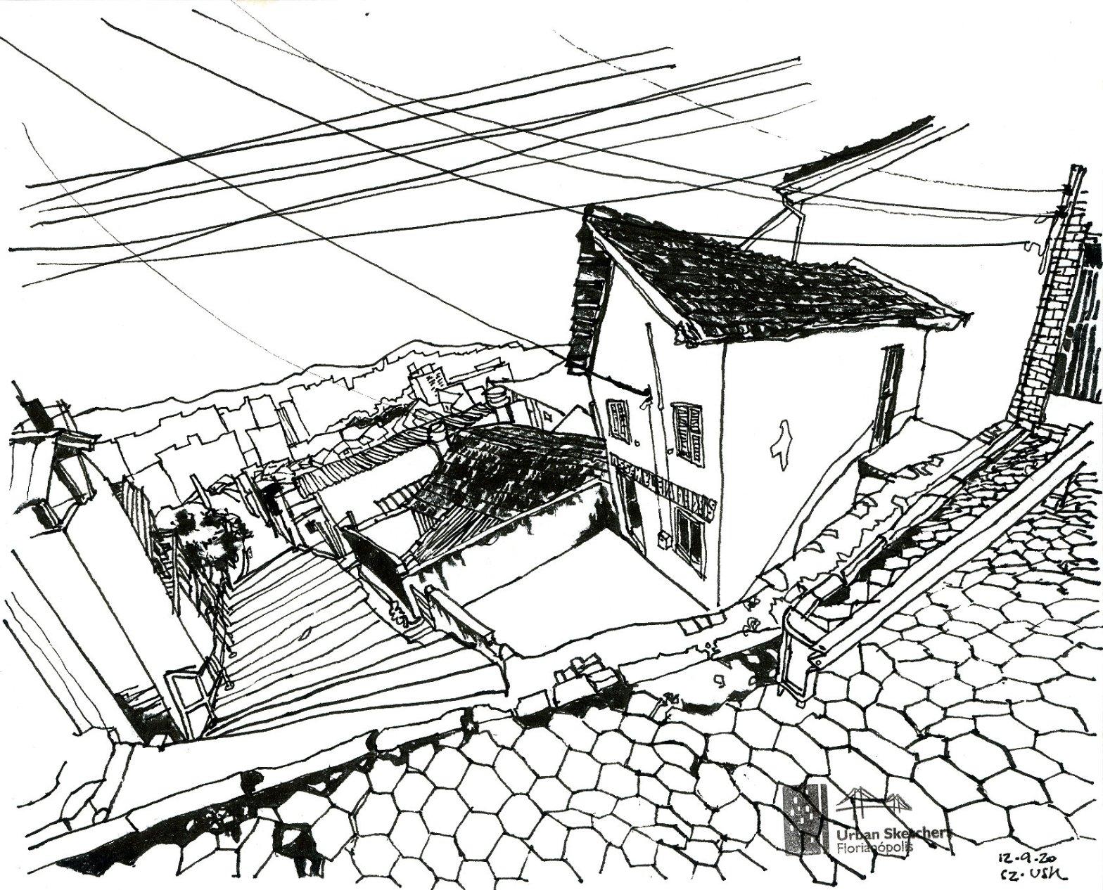 Desenho a traço da escadaria do Morro da Mariquinha vista a partir de cima com casas ao lado e rua de lajota em primeiro plano