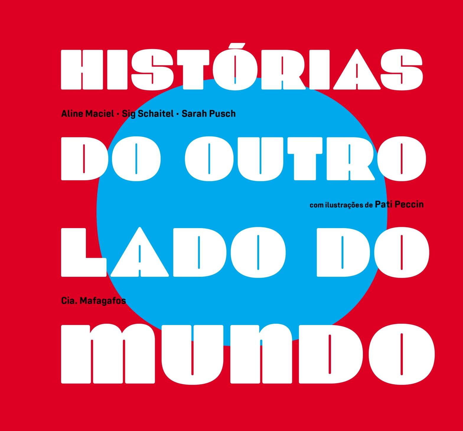 """Capa do livro """"Histórias do outro lado do mundo"""" em fundo vermelho com letras brancas"""
