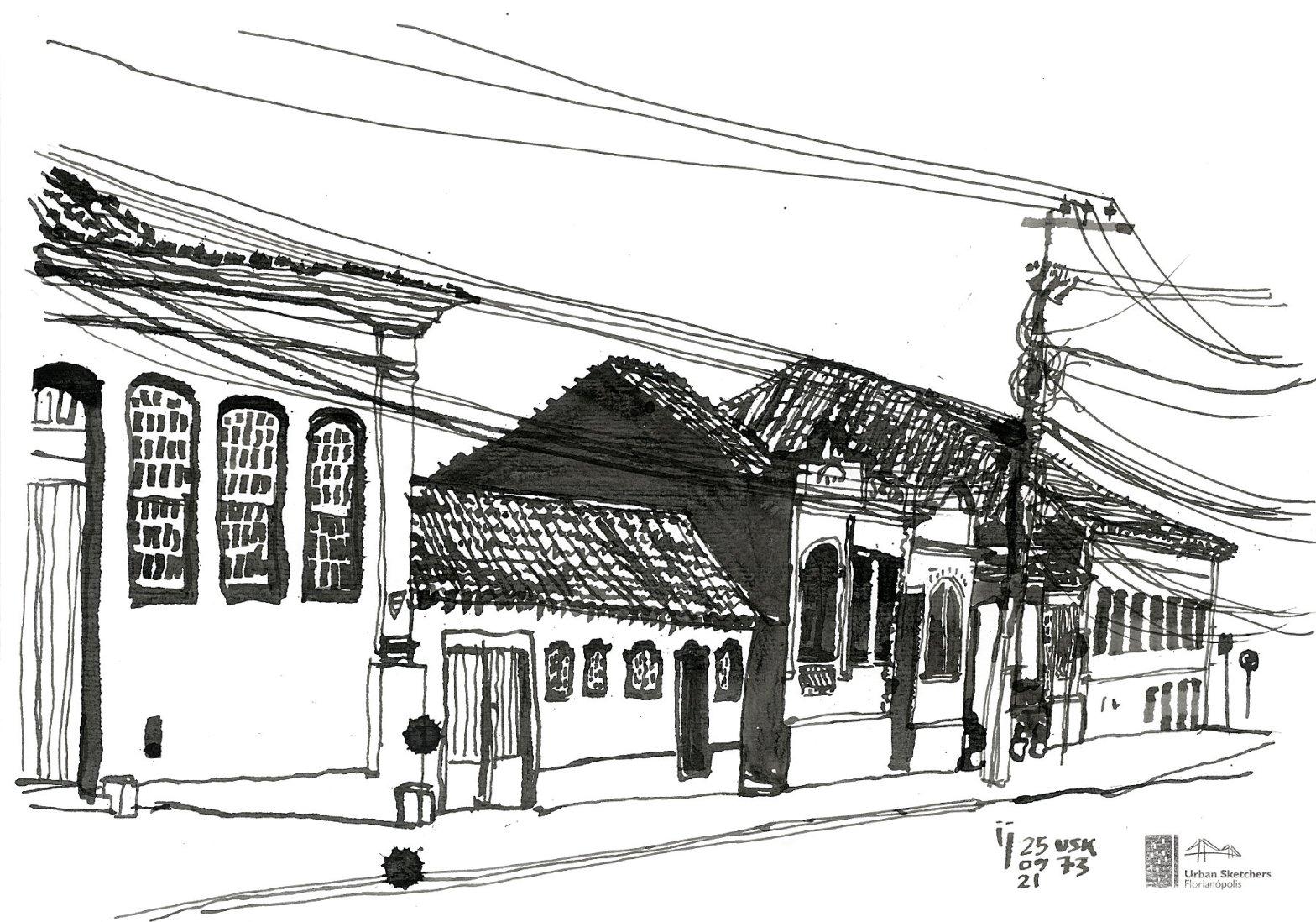 Desenho a traço em nanquim mostrando seis casas antigas