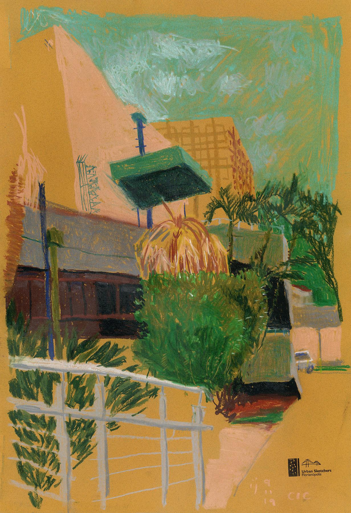 Desenho mostrando a saída dos fundos do CIC com vegetação, parte do volume do telhado e o bloco administrativo