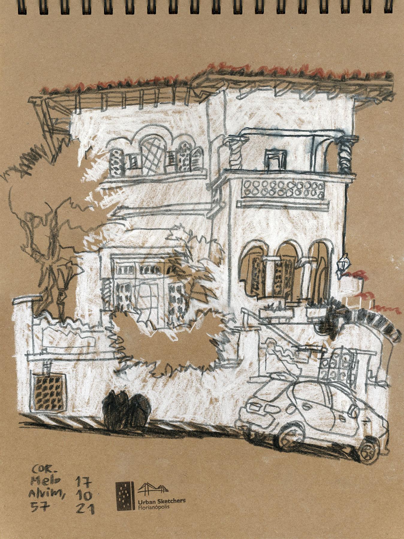Desenho a traço, em crayon, da fachada de uma casa branca de 2 andares com sacada.
