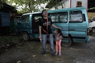 The happiest man on Pulau Ubin.