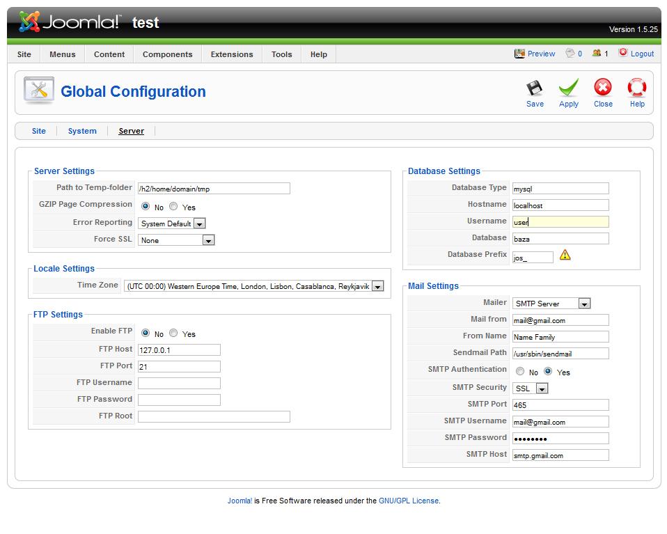 Setting up SMTP mail server on Joomla 1.5