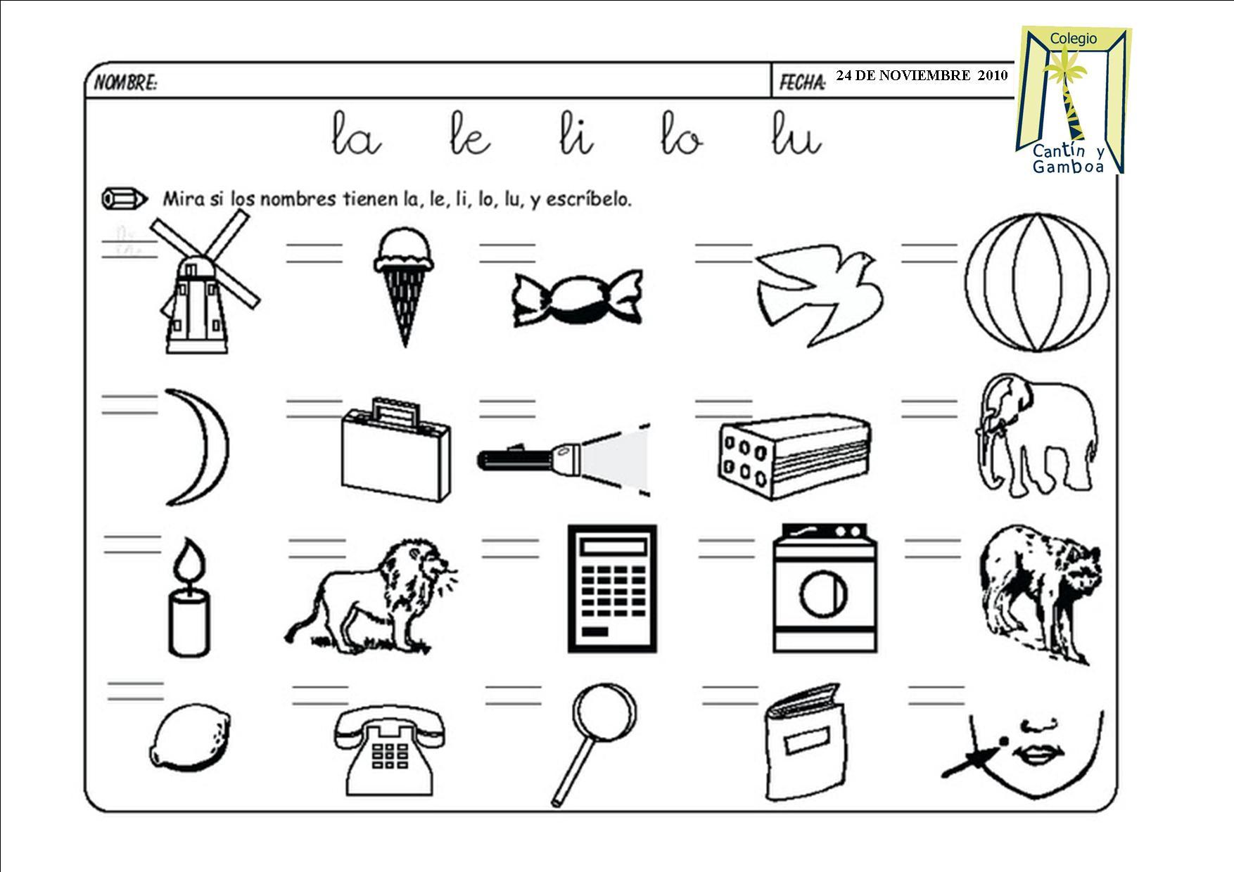 Las Silabas Worksheet