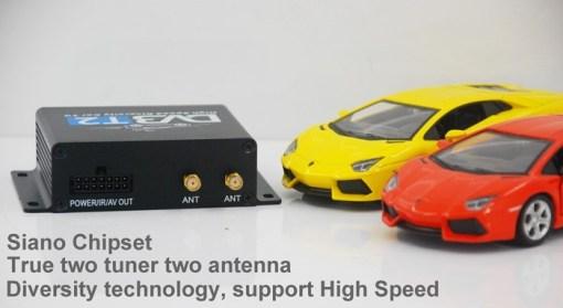 Car DVB-T2 Digital TV receiver two tuner dual antenna high speed 3