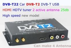 2 antenna car DVB-T2 Two tuner tv Diversity USB HDMI HDTV High Speed dvb-t22 8