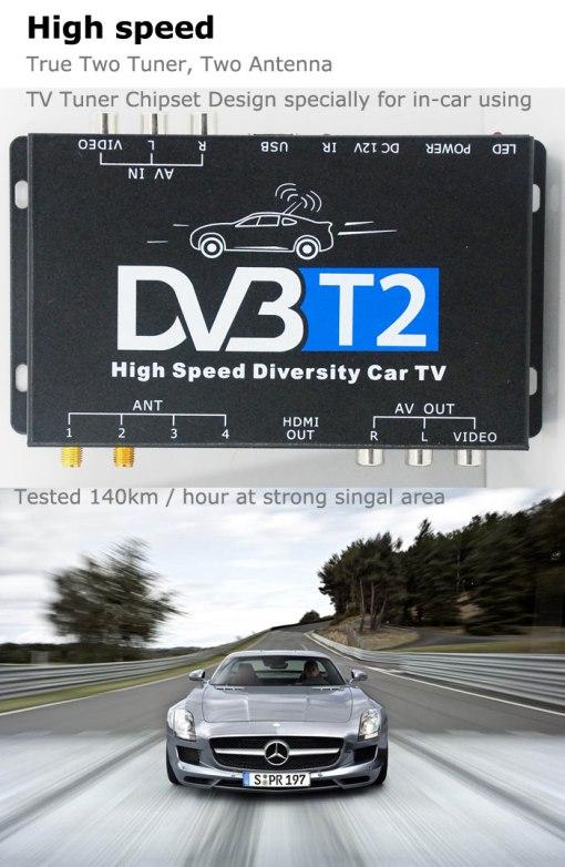 2 antenna car DVB-T2 Two tuner tv Diversity USB HDMI HDTV High Speed dvb-t22 3