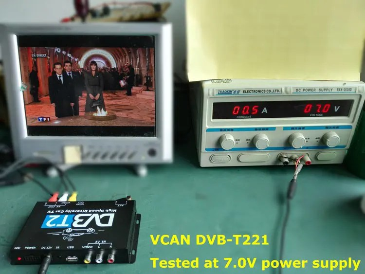 DVB-T2 will be working well at lower voltage power supply even only 7V, much less 12V