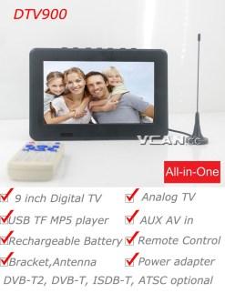 DTV900 DVB-T2 DVB-T ATSC ISDB-T 9 inch Digital TV Analog TV USB TF MP5 player AV in Rechargeable Battery 7