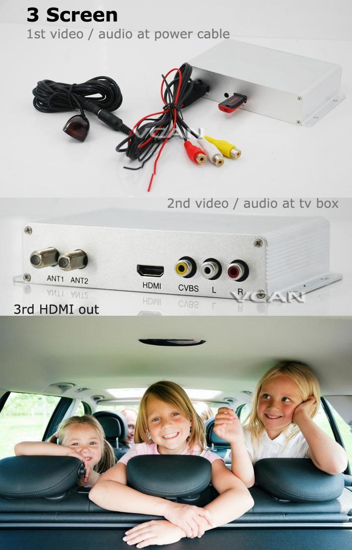 Car DVB-T2 DVB-T USB HDMI HDTV tuner 2 active antenna high speed