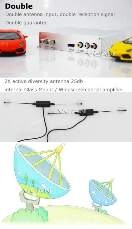 DVB-T2H Car DVB-T2 DVB-T USB HDMI HDTV tuner 2 active antenna high speed 5