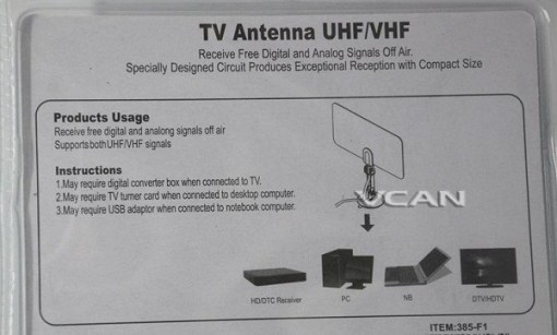 VCAN0992 Digital TV DVB-T2 UHF/VHF Flat antenna and No extra power required for home use 5